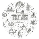 India icons set. Indian attractions, line design. Tourism in India, isolated vector illustration. Traditional symbols. Outline black icons set in thin modern Royalty Free Stock Photo