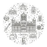 India icons set. Indian attractions, line design. Tourism in India, isolated vector illustration. Traditional symbols. Outline black icons set in thin modern Royalty Free Stock Photography
