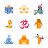 India icons. Spiritual, religious and culture icons of India stock illustration
