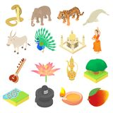 India ikony ustawiać, isometric 3d styl Ilustracja Wektor