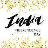 India Independence Day 15 august Lettering Calligraphy Illustration gold. India Independence Day 15 august Lettering Calligraphy Vector gold vector illustration