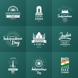India Independence day, 15 august. Set of vector typographic emblems or badges. Good for greeting cards, print, t-shirts, posters and Indian Independence day vector illustration