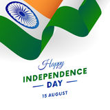 India Independence Day. 15 august. Waving flag. Vector. India Independence Day. 15 august. Waving flag. Vector illustration Stock Photo