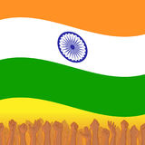 India Independence day. Background with Indian national flag, deep saffron, white and green colors. 15th of august design element with Dharma wheel. Crowd of Stock Photo
