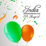 India Independence Day balloon celebration card. India Independence Day greeting card illustration. Flag color balloons and party confetti for special 15th Stock Illustration