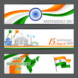 India Independence Day banners. Celebration 15 th of August.  Vector Illustration