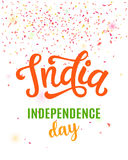 India independence day bright poster with hand written calligraphy. 15th August celebration background with confetti. Greeting card, banner, flyer design Stock Photography