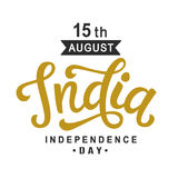 India independence day bright poster with hand written calligraphy. 15th August celebration background. Greeting card, banner, flyer design. Vector Royalty Free Stock Photography