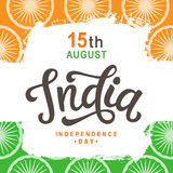 India independence day bright poster with hand written calligraphy. 15th August celebration background. Greeting card, banner, flyer design. Vector Stock Photo