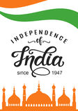India independence day bright poster with hand written calligraphy. 15th August celebration background. Greeting card, banner, flyer design. Vector Stock Images
