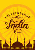 India independence day bright poster with hand written calligraphy. 15th August celebration background. Greeting card, banner, flyer design. Vector Stock Image