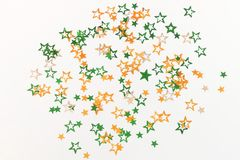 India Independence Day colors  stars decorations on white  background. Stock Photos