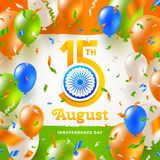 India independence day. Confetti and balloons in the colors of the indian national flag and greeting with holiday date. India independence day. Confetti and Vector Illustration