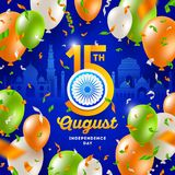 India independence day. Confetti and balloons in the colors of the indian national flag and holiday date with Ashoka wheel. India independence day. Confetti and Royalty Free Stock Photography