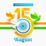 India independence day emblem. Holiday date with Ashoka wheel and doves in the colors of the indian national flag. Vector illustration Royalty Free Stock Images