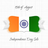 India Independence Day festive Label. Vector Illustration Stock Image