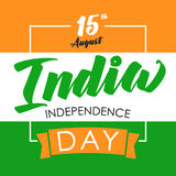 India Independence Day flag color card. Indian Independence Day vector concept with text 15th August on the national flag india Royalty Free Stock Images
