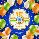 India independence day. Frame with holiday date, Ashoka wheel, indian tricolor and balloons with confetti. India independence day. Frame with holiday date Royalty Free Stock Images