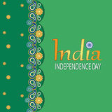 INDIA. INDEPENDENCE DAY. Green background. Paisley. August 15, Indian Independence Day celebrations card. Vector image. Design for print on fabric or paper Stock Images
