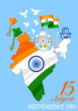 India Independence Day greeting card. Celebration 15 th of August.  vector illustration