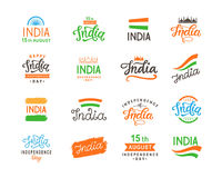 India independence day. Handmade lettering logo templates big set Stock Photography