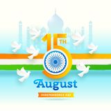 India independence day. Holiday date with Ashoka wheel and doves on a indian tricolor and landmark background. Vector illustration Royalty Free Stock Photos