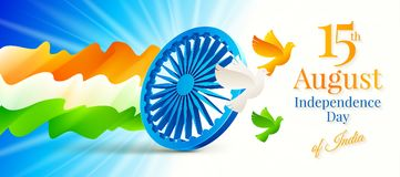 India independence day illustration. Ashoka wheel, fluid waves and doves in the colors of the indian national flag. Vector illustration Stock Images