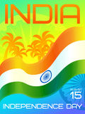 India Independence Day. National holiday, 15 August. Greeting card template with Ashoka wheel, hoisted national flag of India and palm trees Royalty Free Stock Photos