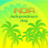 India Independence Day. National holiday, 15 August. Greeting card template with Ashoka wheel and palm trees Royalty Free Stock Photos