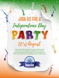 India Independence day party poster. Royalty Free Stock Images