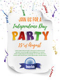 India Independence day party poster template. Royalty Free Stock Images
