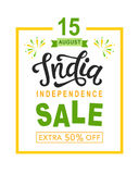 India independence day sale bright poster with hand written calligraphy. 15th August celebration background. Banner, flyer design. Vector illustration Royalty Free Stock Photos