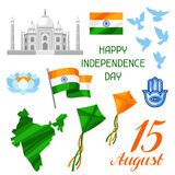 India Independence Day set of objects. Celebration 15 th of August.  Vector Illustration