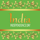 INDIA. INDEPENDENCE DAY. Text in ornament. 15th of August, Indian Independence Day celebrations card. Vector image. Design for printing on a fabric or paper Stock Photo