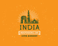 India Independence day, 15th august. Vector emblems. India Independence day, 15th august. Vector typographic emblem, logo or badge. Usable for greeting cards Stock Image