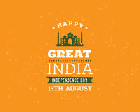 India Independence day, 15th august. Vector emblems. Royalty Free Stock Image