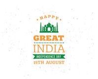 India Independence day, 15th august. Vector emblems. India Independence day, 15th august. Vector typographic emblem, logo or badge. Usable for greeting cards Stock Photo