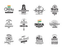 India Independence day, 15th august. Vector emblems. India Independence day, 15th august. Vector typographic emblems, logo or badges. Usable for greeting cards Royalty Free Stock Photos