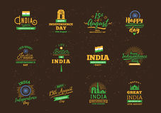 India Independence day, 15th august. Vector emblems. India Independence day, 15th august. Vector typographic emblems, logo or badges. Usable for greeting cards Royalty Free Stock Photography