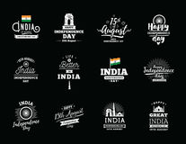 India Independence day, 15th august. Vector emblems. India Independence day, 15th august. Vector typographic emblems, logo or badges. Usable for greeting cards Royalty Free Stock Photo