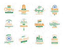 India Independence day, 15th august. Vector emblems. Stock Photo