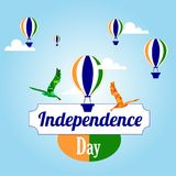 India independence day. India tricolor. Free Bird, Hot air balloon vectors. India independence day. India tricolor national flag Stock Photos