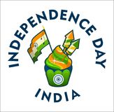 India independence day. Vector illustration india day independence of the state festive cake colored badge on a white background stock illustration