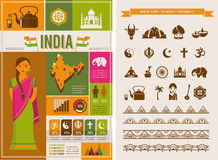 India infographics and elements Royalty Free Stock Image