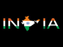 India isolated on black,  Royalty Free Stock Images