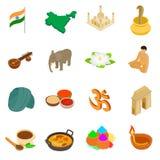 India isometric 3d icons set Stock Photo