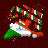 India isometric map in national flag tricolors Abstract background for India Independence Day. India map in national flag tricolors Abstract background for Stock Images