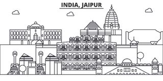 India, Jaipur architecture line skyline illustration. Linear vector cityscape with famous landmarks, city sights, design. Icons. Editable strokes Royalty Free Stock Photography