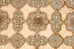 India, Jaipur: fresco on a wall. Sandy colors and geometrical designs for this wall decoration Stock Photos