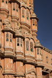 India, Jaipur, Hawa Mahal, detail of the elaborate ornate and pink facade Royalty Free Stock Photo